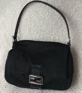 Fendi Neoprene Black Medium Handbag Leather trim